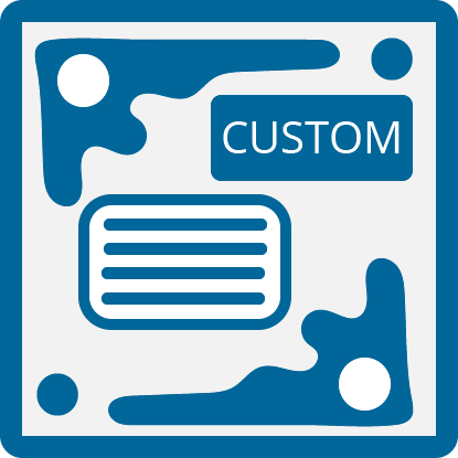 A box with the word 'CUSTOM' inside of it and some text